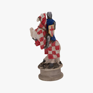 3D chess piece knight white model