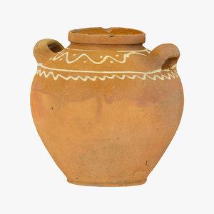 3D clay pot 01 raw model