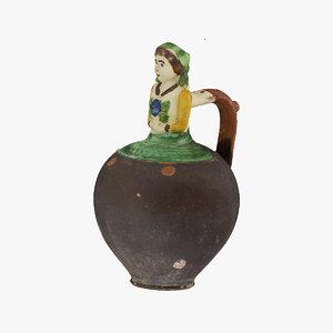 3D clay pot 07 raw model