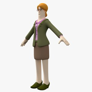 woman toon character 3D model