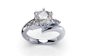 3D engagement solitaire diamond ring