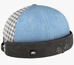 blue jeans brimless cap 3D model