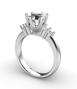 3D engagement diamond solitaire ring