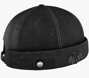 3D model black jeans brimless cap
