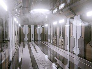 sci fi corridor space scene 3D model
