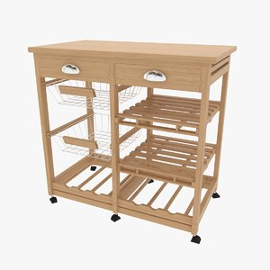 3D rolling kitchen island
