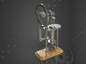 3D model stirling hot air engine parts