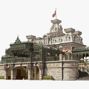 railroad main street station interior 3D model