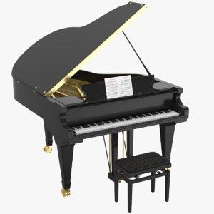 3D real grand piano