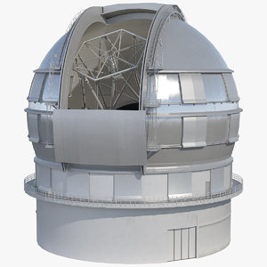 dome telescope rigged 3D model
