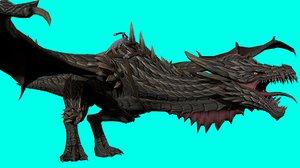 3D dragon rig black model