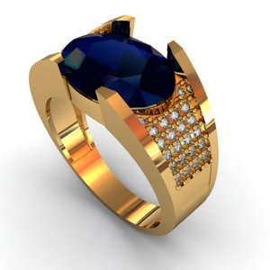 gem ring engagement 3D model