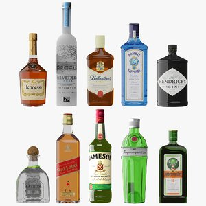 photorealistic liquor bottles 3D model