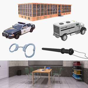 police car building room 3D