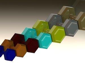 3D cast steel dumbbell model