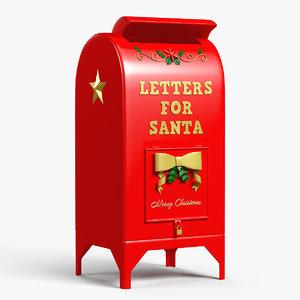 letters santa mailbox 3D model