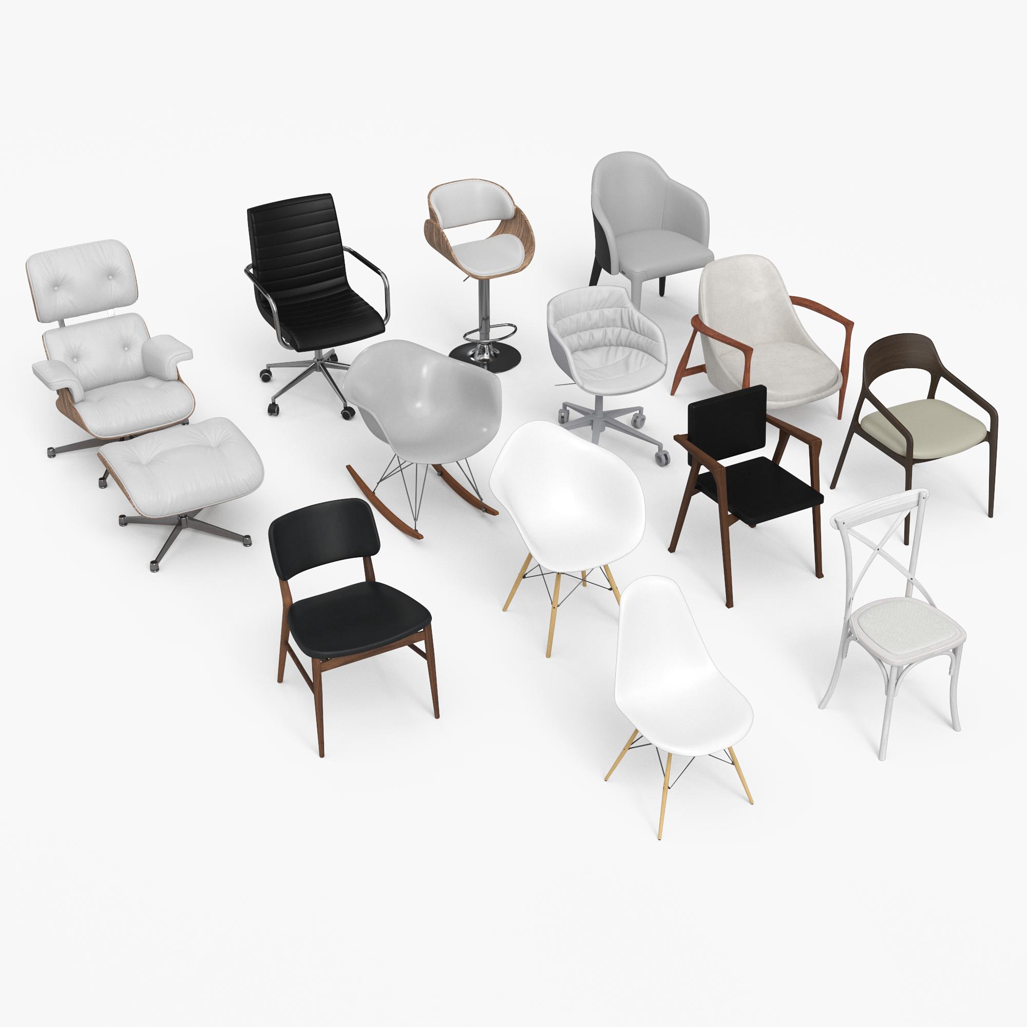 3D black chair eames -