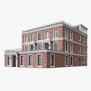 3D model colonial multiplex building house