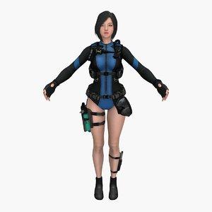 warrior diver girl 3D model
