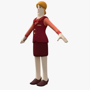 3D woman toon waitress character