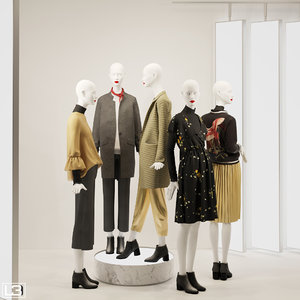 fashion store mannequins zara 3D model
