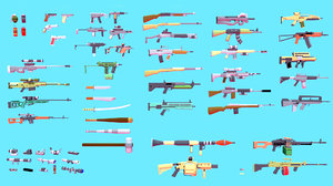 weapons asset pack assault rifles 3D model