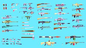 weapons asset pack assault rifles 3D model