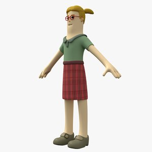 toon girl character 3D model