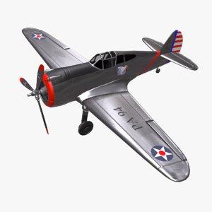 curtiss p-36 hawk fighter plane 3D