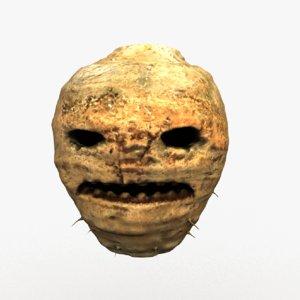 3D traditional jack-o -lantern carved