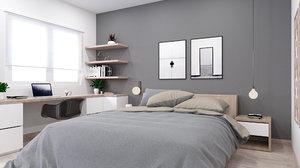 scandinavian bedroom settings model