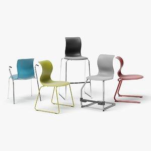 set chair bar stool 3D model
