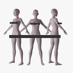 stylized female basemesh 3D model