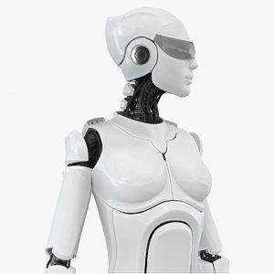 3D female cyborg robot rig