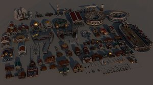 3D mega roman city pack model