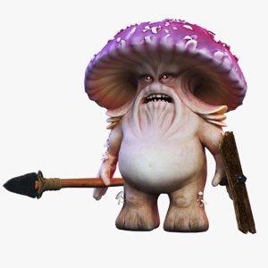 3D mushroom man model