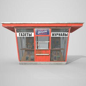 asset soviet newspapers kiosk 3D model