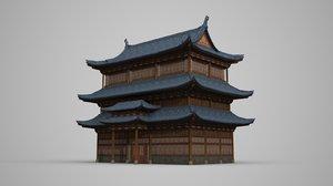 3D ancient building three-storey model