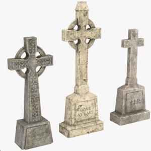 3D cross headstone set
