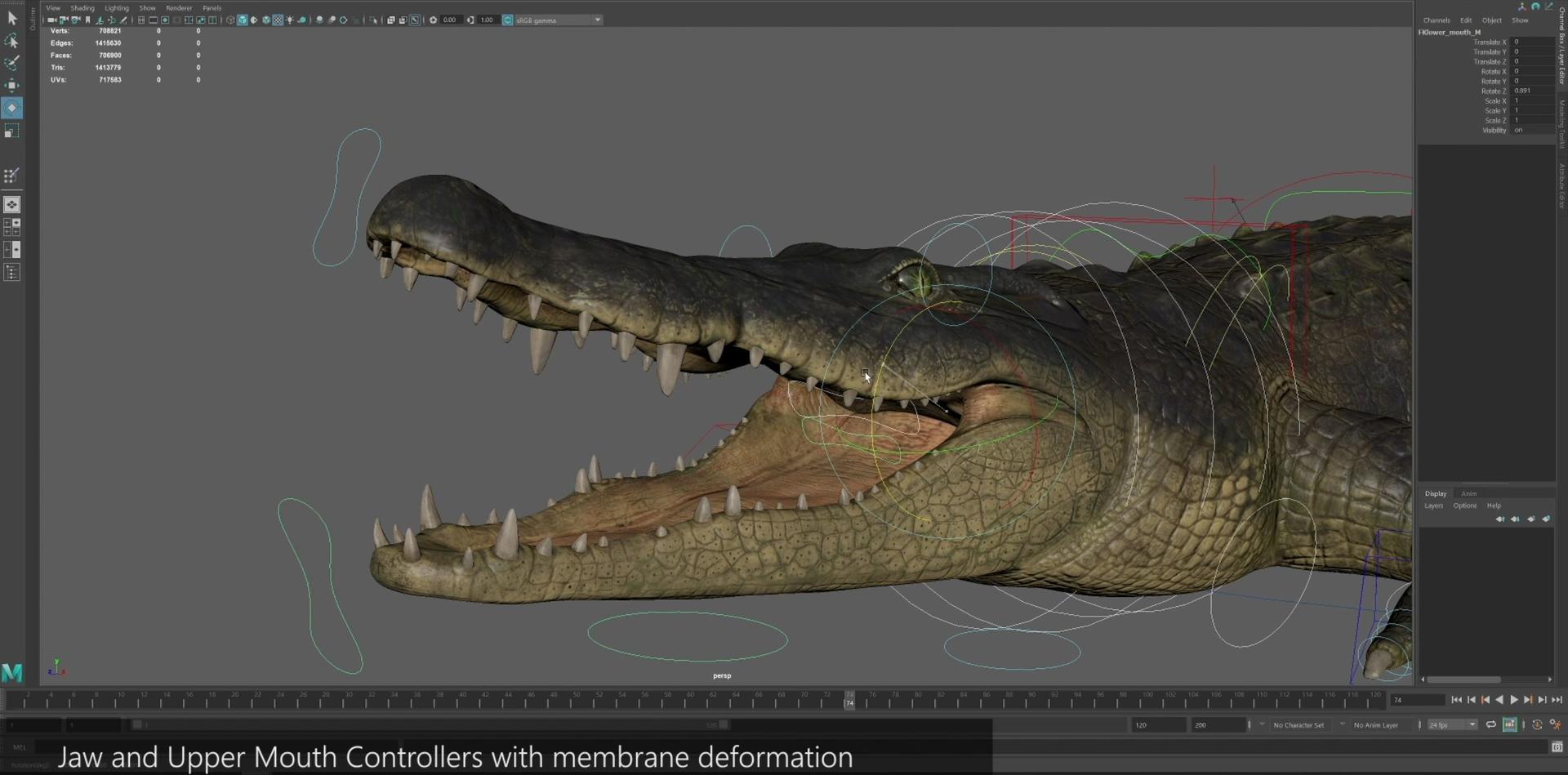 crocodile rig animations 3D model
