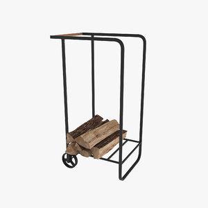 firewood cart logs 3D model
