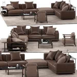 3D nevyll sofa nathy armchair model