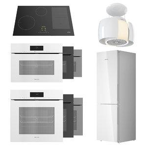 miele white oven 3D