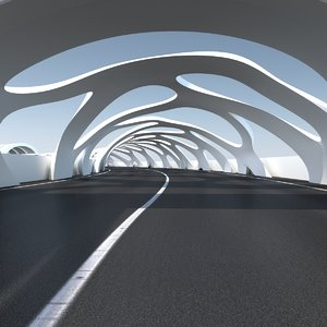 3D sci-fi futuristic road tunnel model