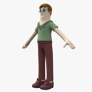 student boy character 3D