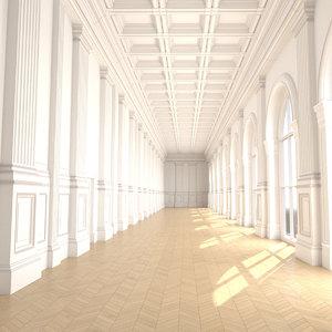 3D classic corridor interior