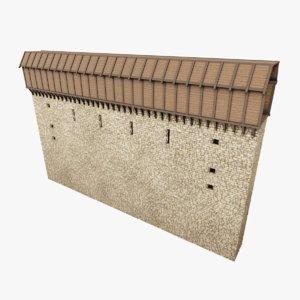 3D model medieval wall iii