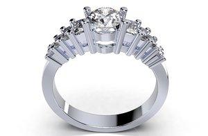 3D ring solitaire baguettes-cc113