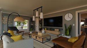 blender porch house furniture model