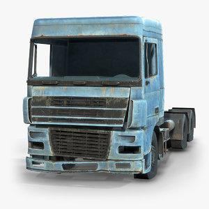 3D rusty semi-trailer truck cab